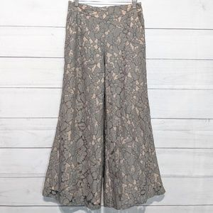 Anthro Featherbone Lace Wide Leg Palazzo Pants K5